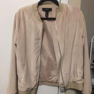 Forever 21 velvet baby pink bomber jacket