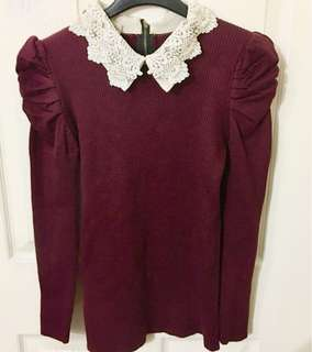 Maroon European Knitted Sweatshirt With jewels and pearls