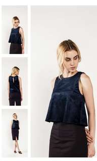 navy velto flare sleeveless top size s // blouse
