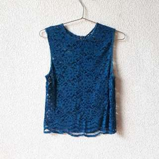 FOREVER 21 BLUE LACE TOP EXTRA SMALL