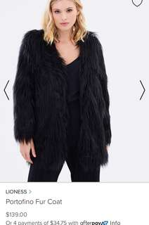 Lioness black fur jacket coat faux