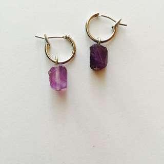 紫水晶原礦圈圈耳針