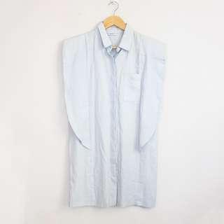 Korean Fashion Style Light Blue Sleeveless Padded Style Mini Dress