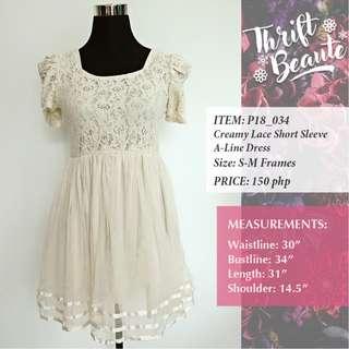 Creamy Short Sleeve A-Line Dress