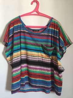 Rainbow loose top for casual/gym/beach