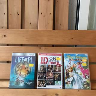 BRAND NEW DVDS Life of Pi, One direction, Swan Princess