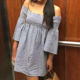 Zara Blue Off Shoulder Dress