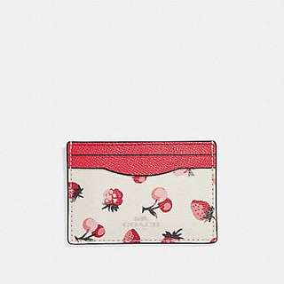 Coach flat Card Case with fruit print