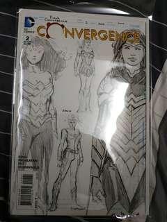 Dc comics Convergence 2 1:100 david finch sketch wonderwoman variant