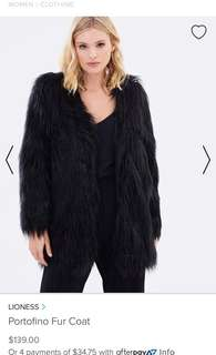 Lioness black faux fur jacket coat