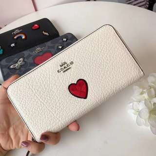 Coach Accordion Zip Wallet with heart embroidery