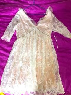 Topshop White Pink Lace Dress
