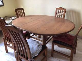 teak dining table w/ 6 chairs