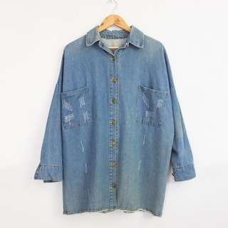 [RESERVED] Korean Fashion Style Light Denim Long Jacket/Dress (S-M)