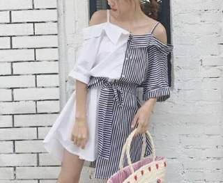 【CLOTHING】【DRESS】AKD00013 CLOTHING KOREAN CHIC STYLE OFF SHOULDER HALF BLACK STRIPES DRESS