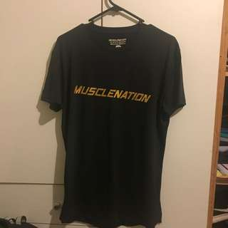MuscleNation Black & Gold Rare Bodybuilding/Fitness Shirt