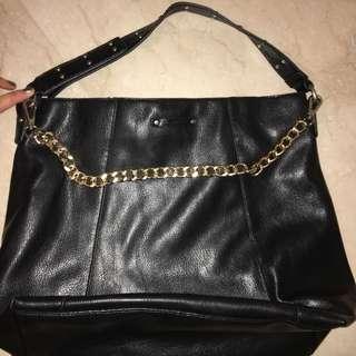 Mango Black Leather Gold Chain Bag