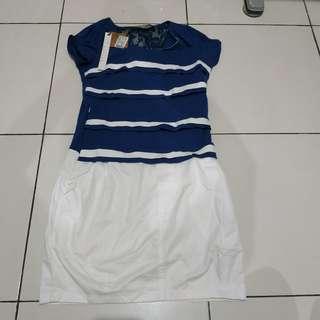 New: Dress sexy renda lebaran putih biru