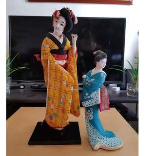 Geisha Japanese Doll Display set of 2