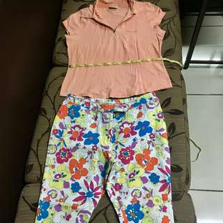 Plus size combo: polo shirt and floral pants