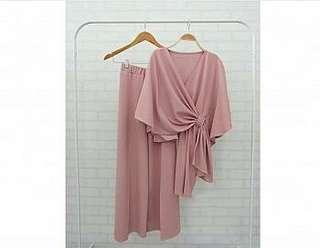 Ec  St nowmod pink l atasan fashion baju blouse celana kulot setelan muslim baloteli wanita