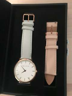Fifth brand rose gold watch with extra strap