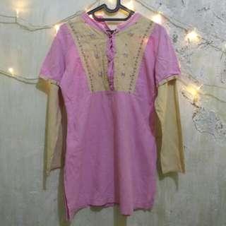 Baju Muslim/Blouse/Atasan Wanita Pink Cream Pastel untuk Lebaran