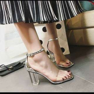 TRANSPARENT BLOCK HEELS