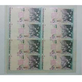 Malaysia RM5 8 in 1 Uncut Banknote with Folder UNC