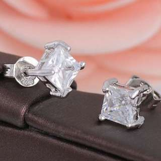 Fashion Women 925 Sterling Silver Clear Square Cubic Zirconia Ear Studs Earrings