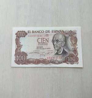 Spain 1970 100 Pesetas Unc Crisp Note