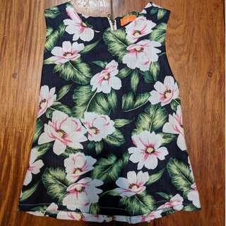 Floral Pink and Black Hawaiian Sleeveless / Tank Top with gold zip back