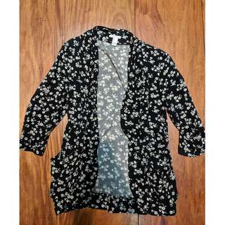 Forever 21 Floral Black and White Blazer with pockets