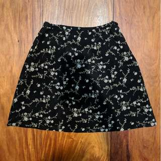 Vintage Floral Black and White Skirt