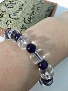 Bracelet - White and Dark Amethyst白与紫水晶手链