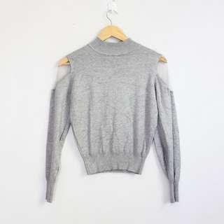 Korean Fashion Style Light Gray Sheer Shoulder Sweater Blouse Top