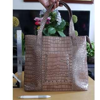 Brown Crocodile Pattern Bag