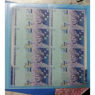 Malaysia RM1 8 in 1 Uncut Banknote with Folder UNC
