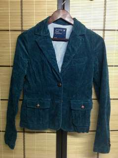 AMERICAN EAGLE OUTFITTERS FOREST GREEN CASUAL BLAZER (S)