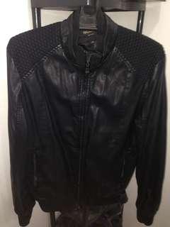 Black leather jacket for men- large to XL