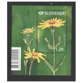 SLOVENIA 2018 FLORA MOUNTAIN ARNICA FLOWER  SOUVENIR SHEET OF 1 STAMP IN MINT MNH UNUSED CONDITION