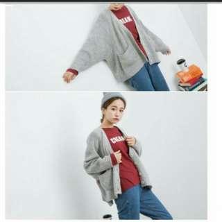 🚚 灰色針織毛衣 蝙蝠袖外套 #三百元外套