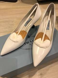 Prada White Leather Pointy Toe Pump