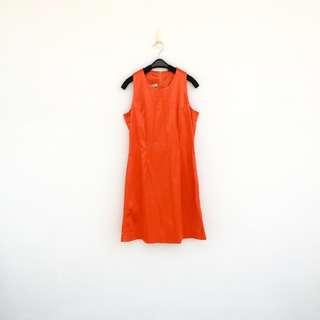 🚚 二手 亮橘色 彈性 緊騷 洋裝 明太子 605