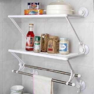 吸盤式廚房浴室雙層雙桿毛巾架/置物架