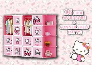 16 cube wardrobe + corner shelf hello kitty