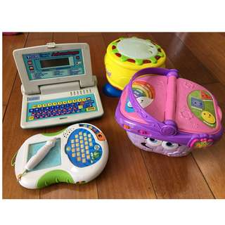 leapfrog picnic basket and musical drum with freebies