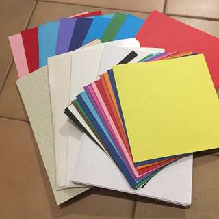 Card making supplies: card, paper, envelopes, stickers