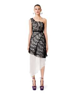 Three Floor Black and White Lace Pleated Hem One Shoulder Maxi Dress Gown