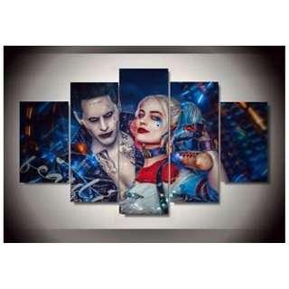 5 piece panel canvas frame suicide squad